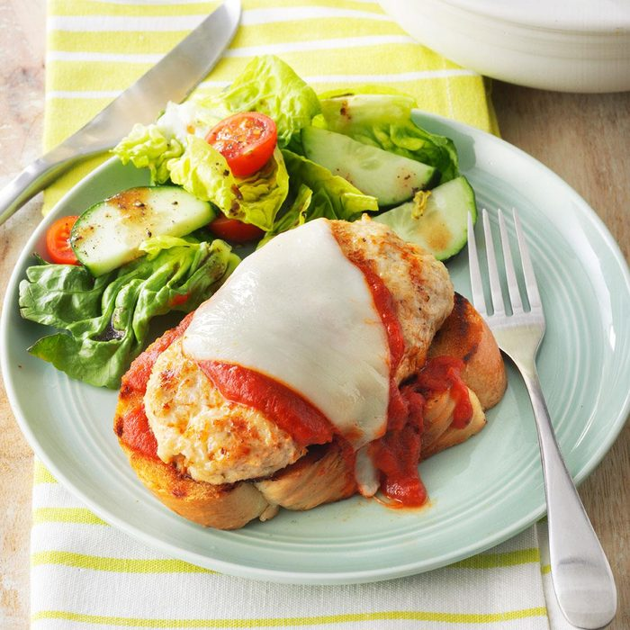 Open-Face Chicken Parmesan Burgers