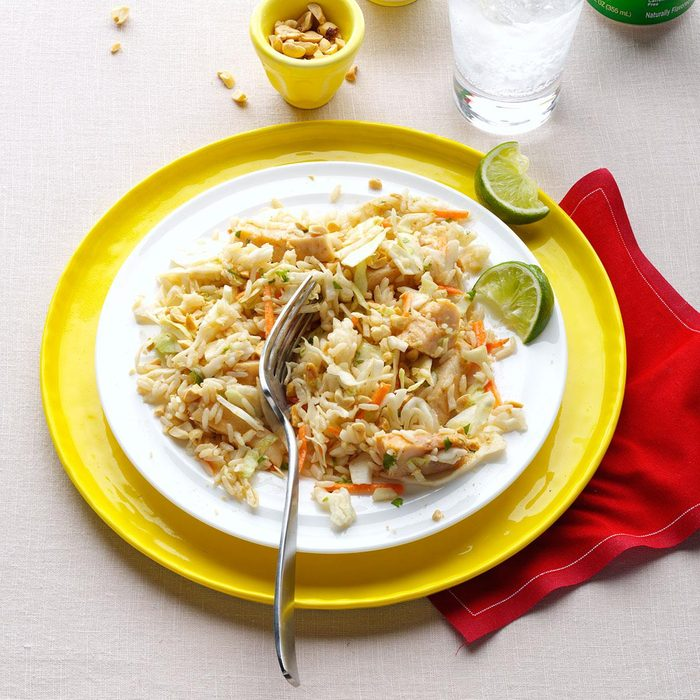 Chicken & Rice Salad with Peanut Sauce