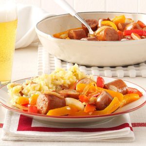 Chicken Sausages with Peppers