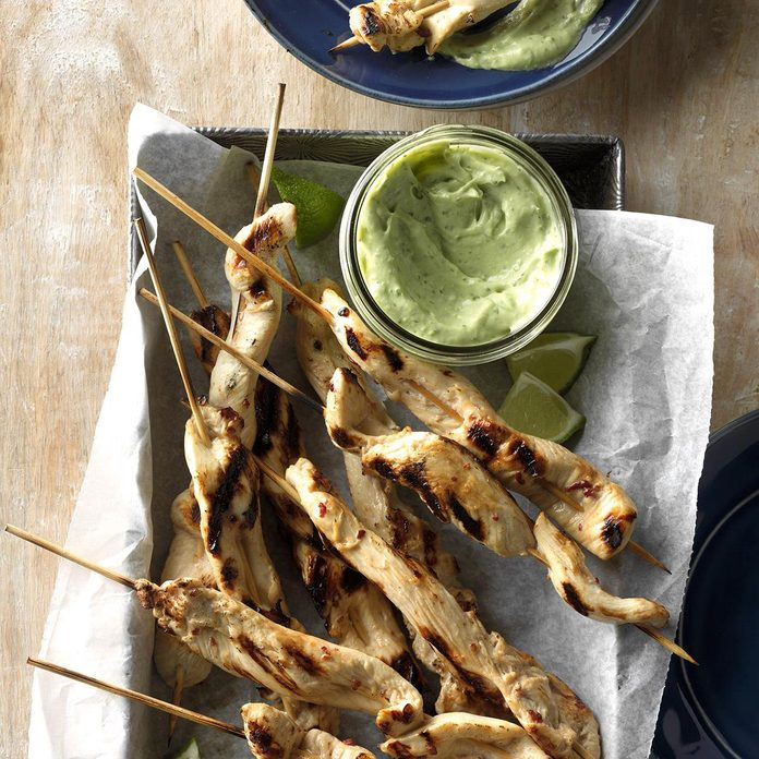 Chicken Skewers With Cool Avocado Sauce Exps Dsbz17 37502 C01 13 4b 1