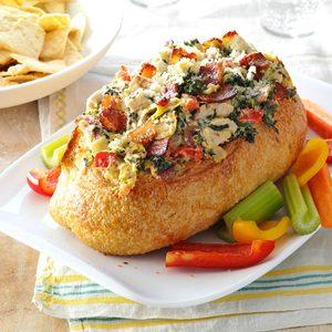 Chicken Spinach Dip Bread Bowls