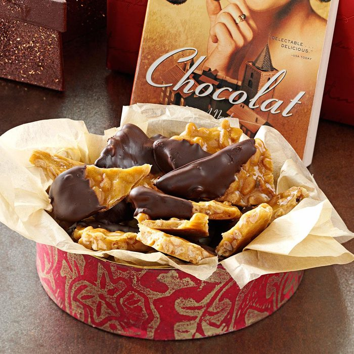 Chocolate-Dipped Lavender Pine Nut Brittle