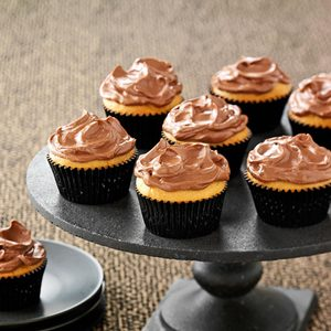 Chocolate Frosted Peanut Butter Cupcakes