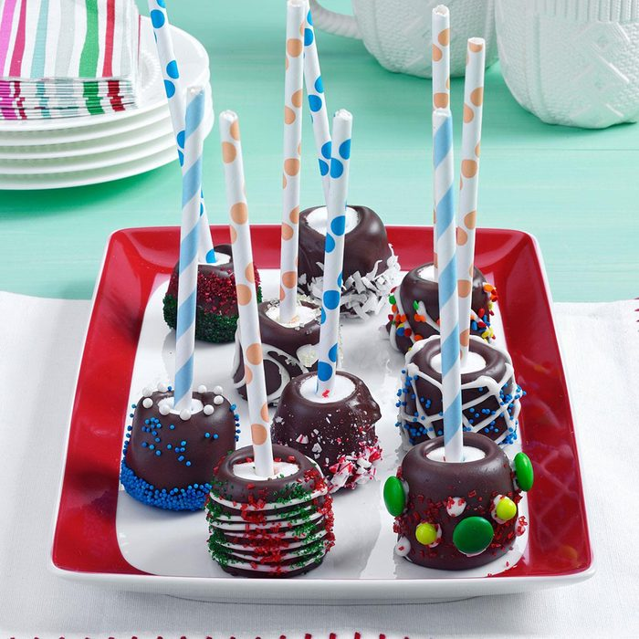 Chocolate-Topped Marshmallow Sticks