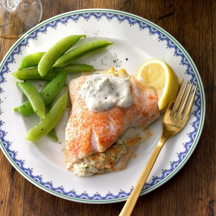 July 30: Crab-Stuffed Flounder with Herbed Aioli