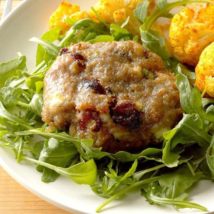 Cranberry Turkey Burgers with Arugula Salad