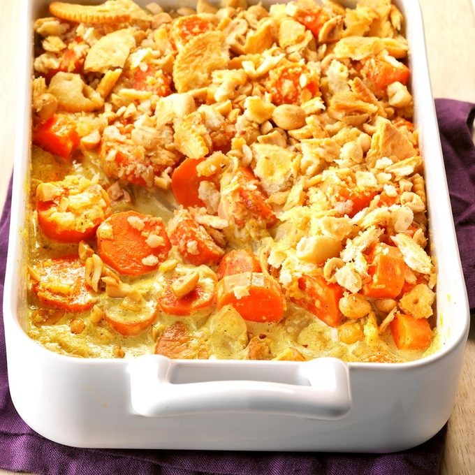 Curried Carrots with Crunchy Peanut Topping