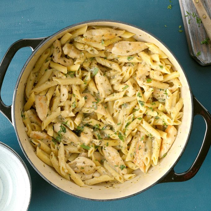 Delish Pesto Pasta With Chicken Marsala Exps Ciwmz19 146040 B09 10 4b 6