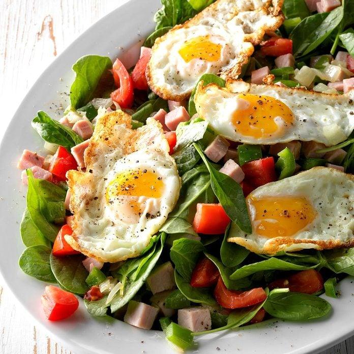 Denver Omelet Spinach Salad