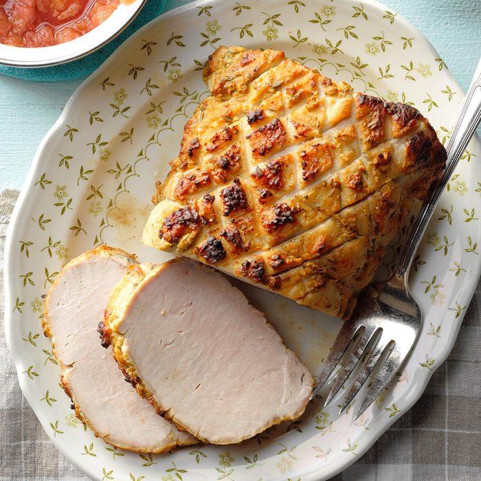 Dijon-Rubbed Pork with Rhubarb Sauce