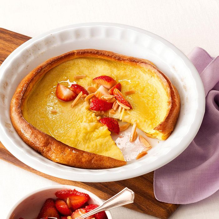 Dutch Baby Pancake with Strawberry-Almond Compote