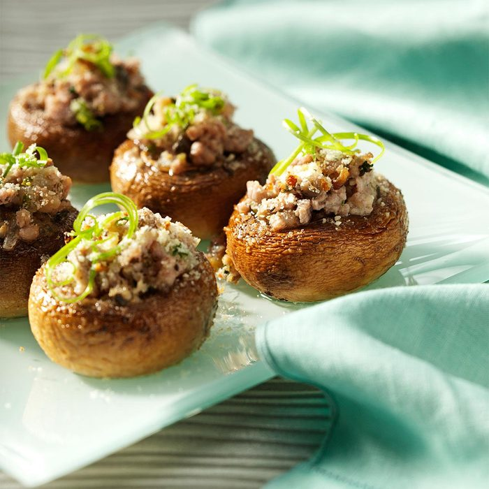 New Year's Eve Appetizer: Potluck Sausage-Stuffed Mushrooms