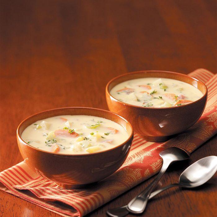 Golden Potato and Ham Soup