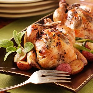 Herb-Stuffed Roasted Cornish Hens