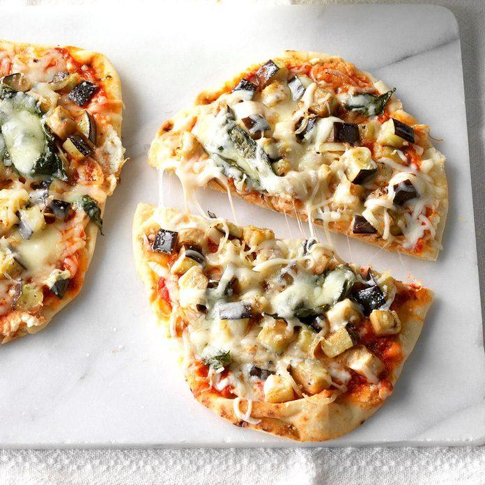 Day 30: Eggplant Flatbread Pizzas