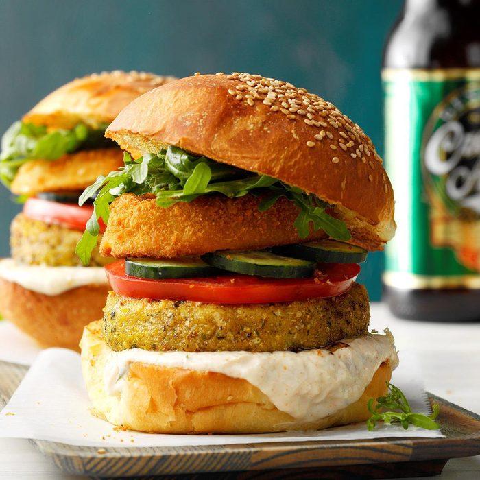 Falafel Chicken Burgers with Lemon Sauce
