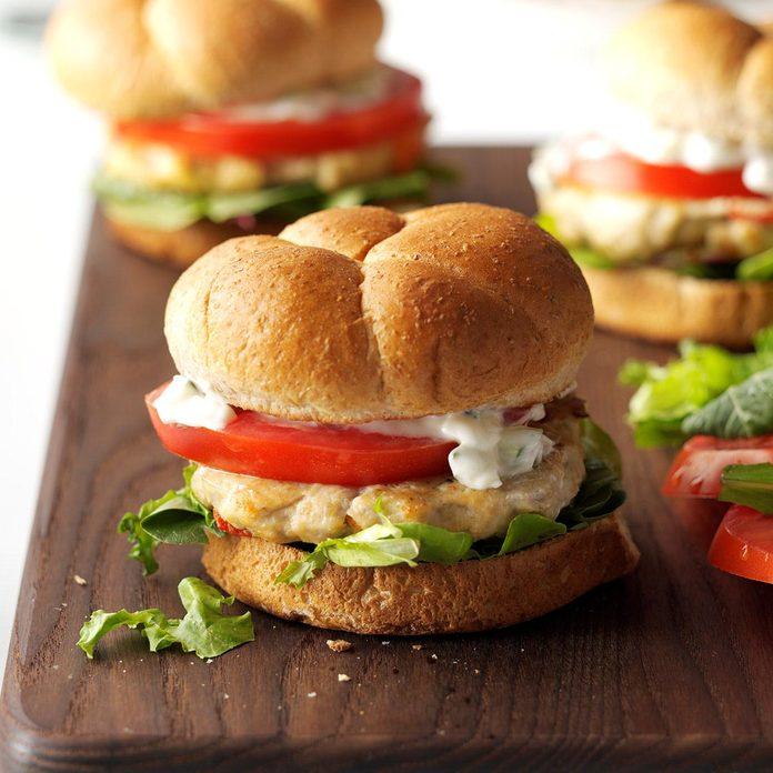 Saturday: Feta Chicken Burgers
