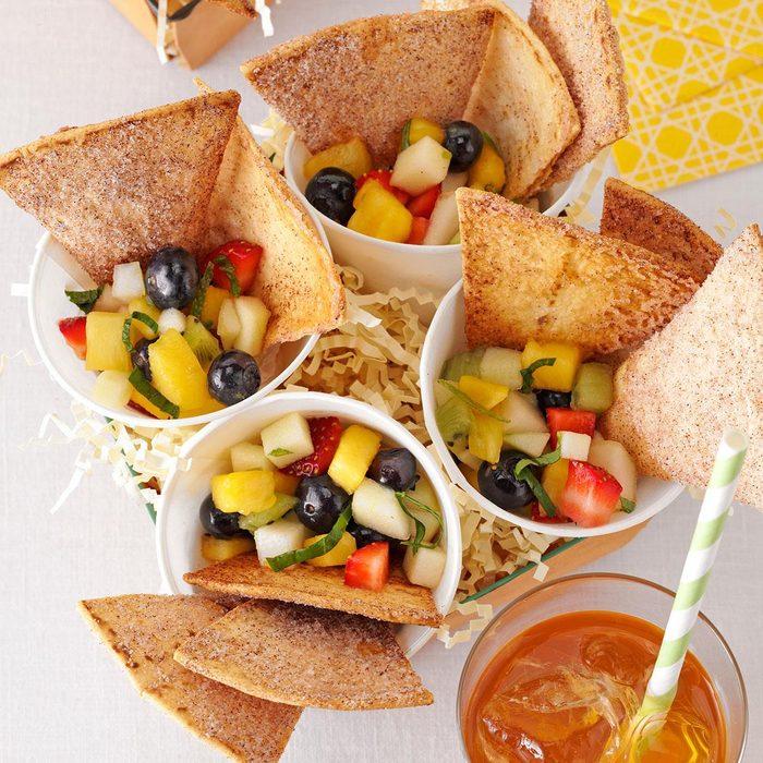 Fresh Fruit Salsa with Cinnamon Chips