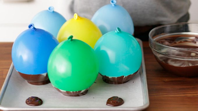 Balloons attached to baking sheet