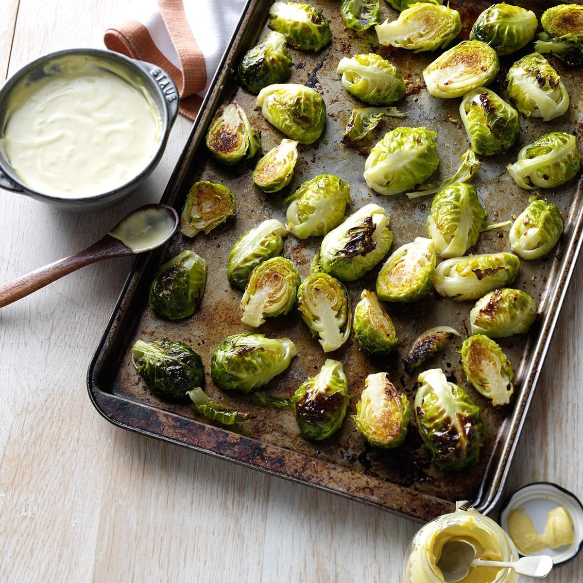 Garlic-Roasted Brussels Sprouts with Mustard Sauce