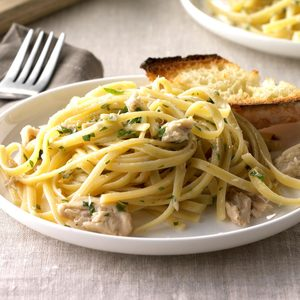 Garlic Salmon Linguine