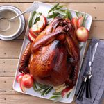 Grilled apple brined turkey