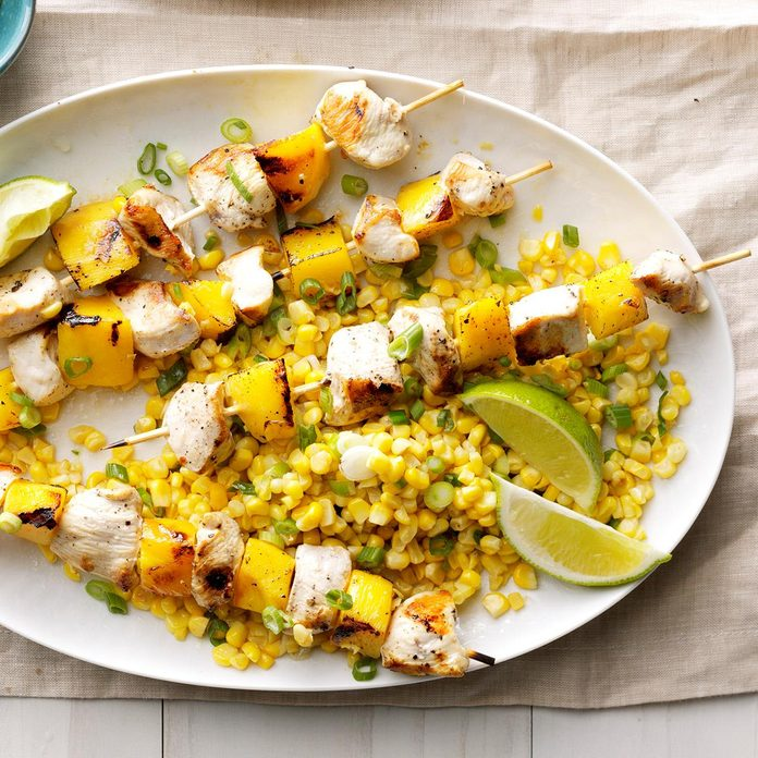 Day 30: Grilled Chicken and Mango Skewers