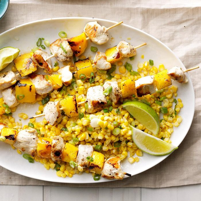 Grilled Chicken and Mango Skewers