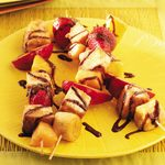 Grilled Fruit Skewers with Chocolate Syrup