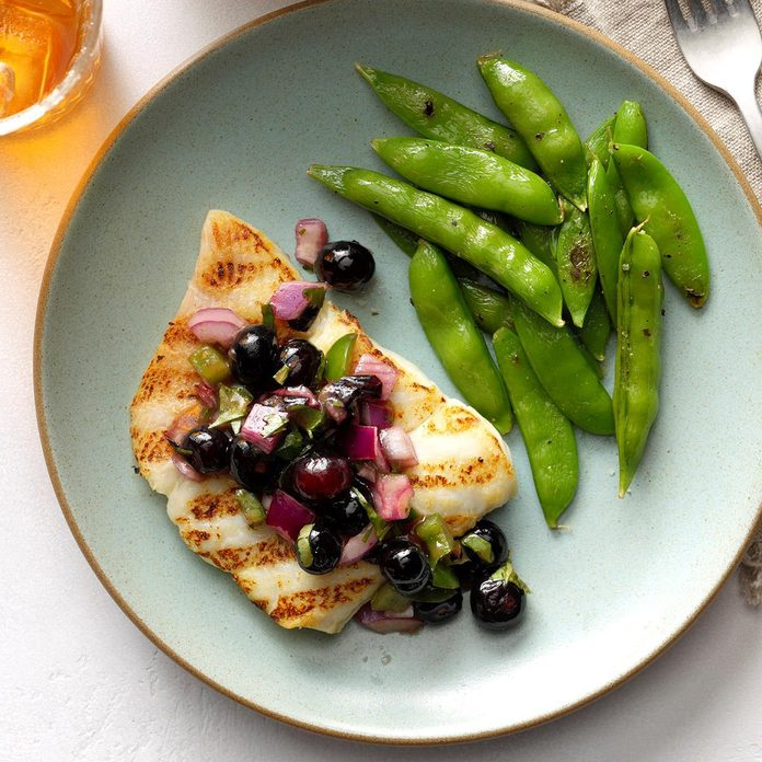 July 10: Grilled Halibut with Blueberry Salsa