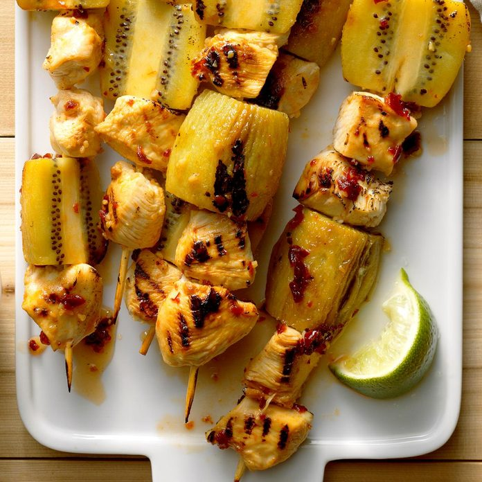 July 13: Grilled Kiwi-Chicken Kabobs with Honey-Chipotle Glaze
