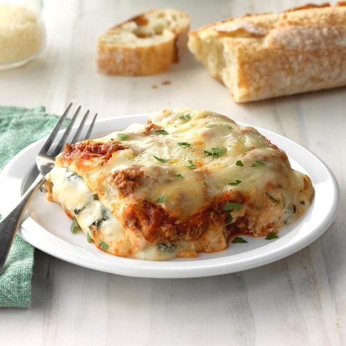 Ground Beef Spinach Alfredo Lasagna