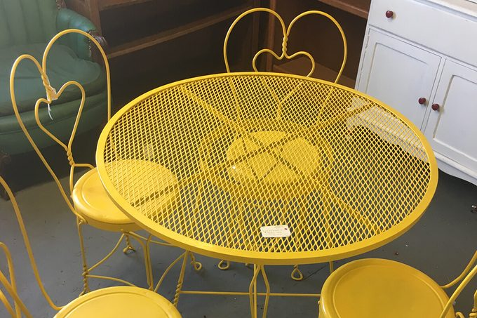 Bright yellow ice cream parlor chairs