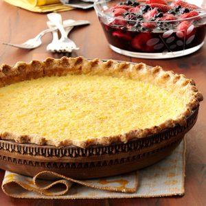 Lemon Chess Pie with Berry Sauce