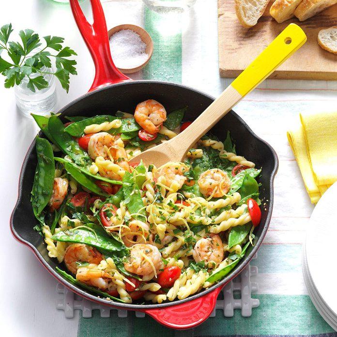 Day 31: Lemony Shrimp & Snow Pea Pasta