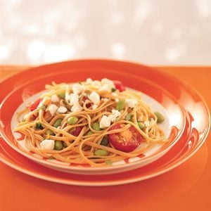 Linguine with Edamame and Tomatoes for 2
