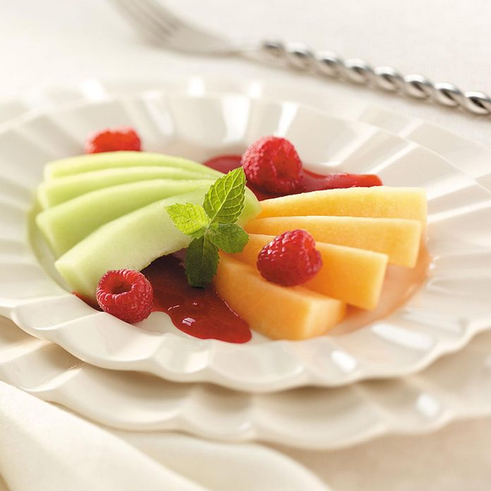 Melon with Raspberry Sauce