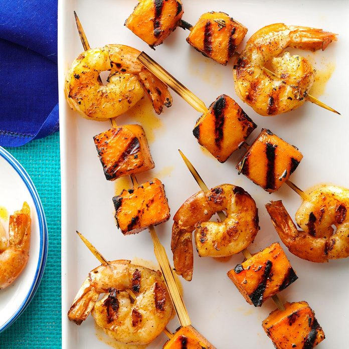 Grilled Shrimp & Sweet Potato Kabobs