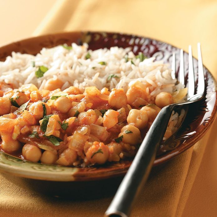 Minted Rice with Garbanzo Curry