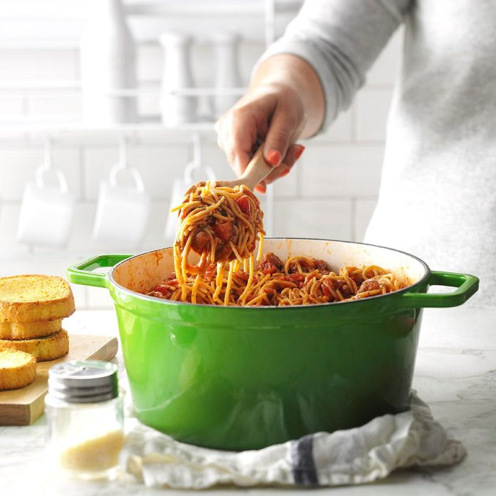 One-Pot Meaty Spaghetti Inspired by <i>No Reservations</i>