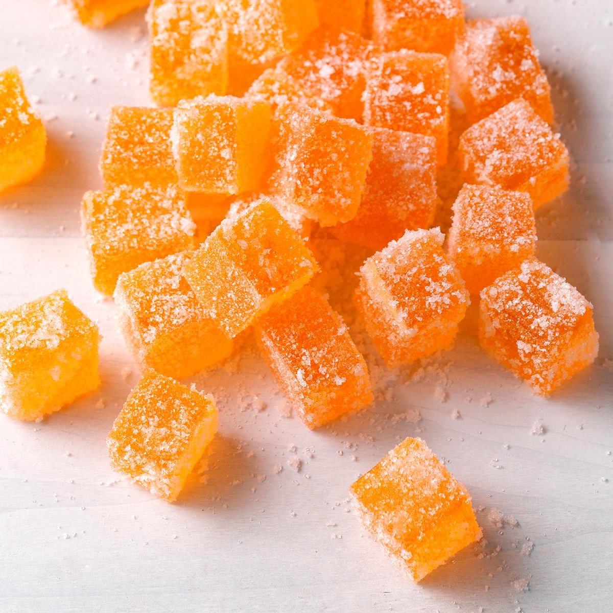 A batch of homemade orange gumdrops.