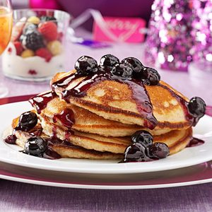 Overnight Yeast Pancakes with Blueberry Syrup