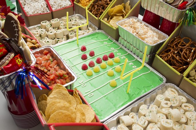 Patchwork Quilt Cake as a Football Field; Snack Stadium