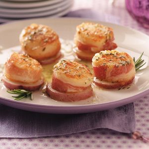 Pancetta Scallops on Potato Rounds