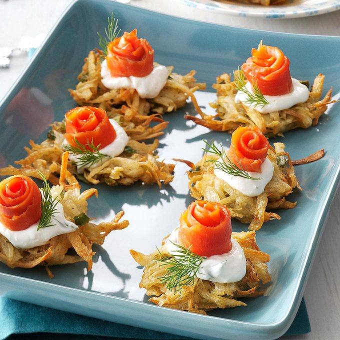 Parsnip Latkes with Lox and Horseradish Creme