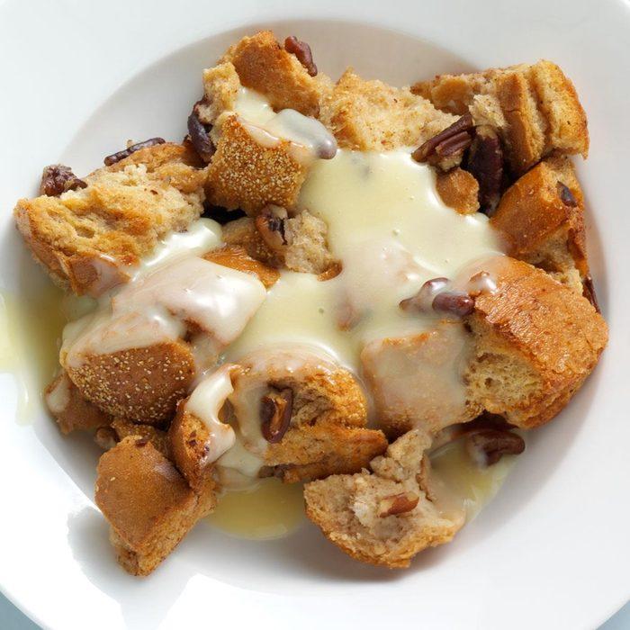 Pecan Bread Pudding with Rum Custard Sauce