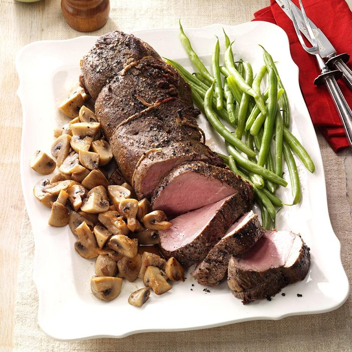 Mains: Pepper-Crusted Beef Tenderloin with Mushrooms