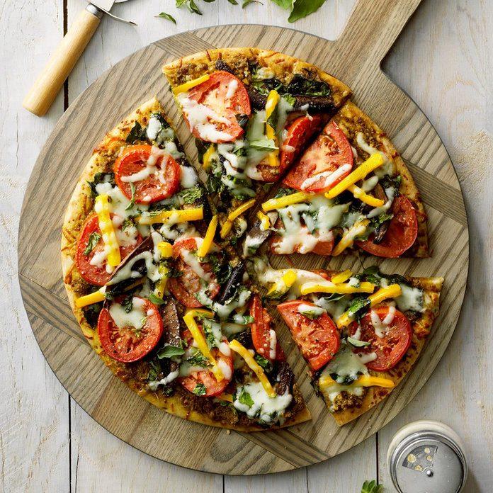 Sunday: Pesto Vegetable Pizza