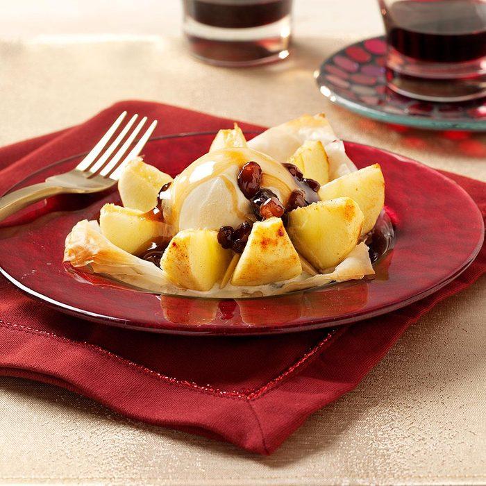 Phyllo Apples With Rum Raisin Sauce