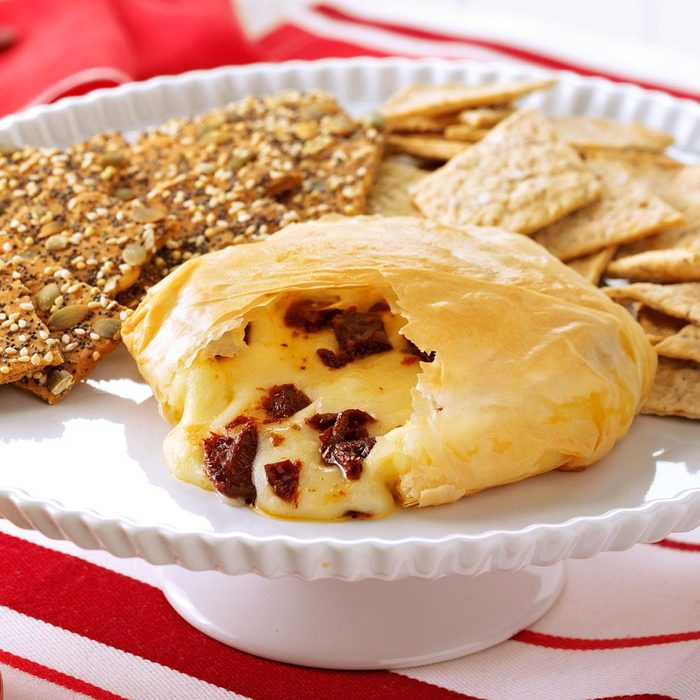 Phyllo-Wrapped Brie with Sun-Dried Tomatoes